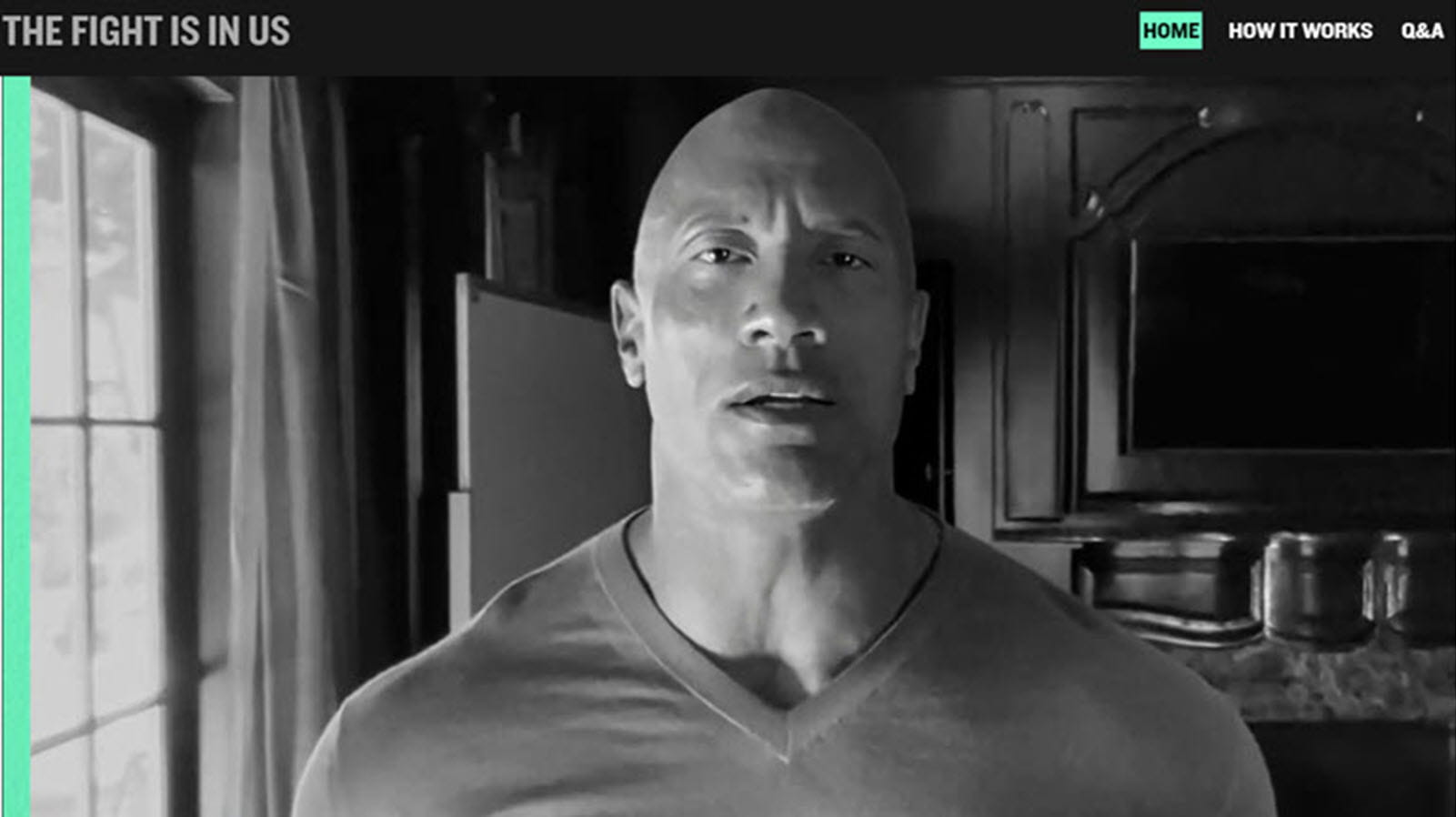 Dwayne The Rock Johnson in a YouTube video for the Fight Is In Us