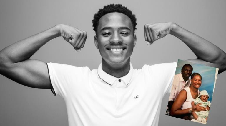 T.J. Holmes flexes his muscles - inset photo of him as a baby with his parents Santonio and Nicole