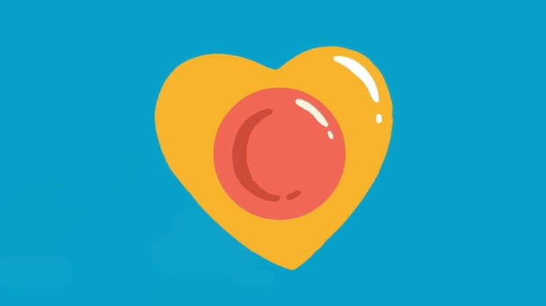 yellow heart on blue background from the donate plasma video